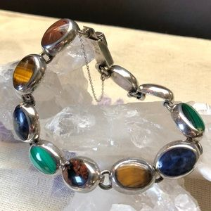 Vintage Mexico Sterling & Gemstone Bracelet